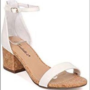 Breckelle's Open Toe Ankle Strap Cork Block Heels